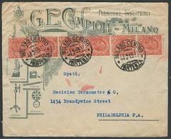 Italy - XX. 1921 (11 April). Milano - USA. Machine Ilustrated Scientific Intrumens 10c (x6) Multifkd Env. Delightful. - Italy