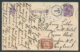 DENMARK. 1924 (25 June). Esbjerg - UK. 15o Violet Stat Card + Taxed + 1 1/2d P Due GB (D 12) Tied. VF Item. Scarce Comb - Danemark