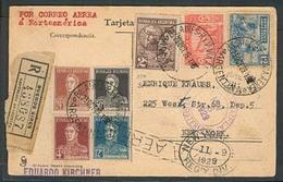 Argentina - XX. 1929 (23 Oct). Bs As - USA. Reg Air Multifkd Card. VF. Addressed To Enrique Krauss. - Argentina