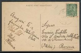 ALBANIA. 1922 (29 Dec). Tirana - Italy. Fkd Card / Ovptd Issue. - Albanie