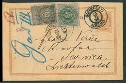 SLOVENIA. 1896 (25 June). Krsko / Gurkfeld - Svernica. Austria 2kr Stat Card / Cds + 2 Fiscal Revenue Tied Stamps. Rare - Slovénie