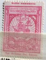 NAVIGAZIONE ANTICO VELIERO 4 CENTENARIO DESCOBRIMENTO DA INDIA  Colore Rosa - Erinnophilie
