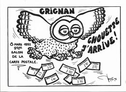 OISEAUX - CHOUETTE J'ARRIVE - GRIGNAN - SALON DE LA CARTE POSTALE - CPM - PAS ÉCRITE - - Oiseaux