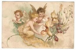 CP : Anges Avec Ailes De Papillon, Enveloppe Cœur, Fleur - Signée : Gesetzuck ? - Anges