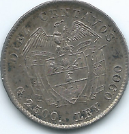 Colombia - Diez 10 Centavos - 1920 - KM196.2 - Recut Arms - Scarce Coin. - Colombie