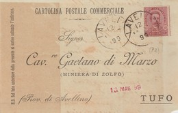 Lavello. 1899. Annullo Grande Cerchio LAVELLO, Su Cartolina Postale Commerciale - 1878-00 Umberto I