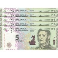 TWN - ARGENTINA 359 - 5 Pesos 2015 DEALERS LOT X 5 - Serie B - Signatures: Vanoli & Boudou UNC - Argentina