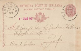 Salandra. 1899. Annullo Grande Cerchio SALANDRA, Su Cartolina Postale, Con Testo - 1878-00 Umberto I