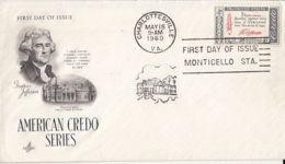 77632- THOMAS JEFFERSON, MONTICELLO HOUSE, AMERICAN CREDO SERIES, EMBOISED COVER FDC, 1960, USA - Sobre Primer Día (FDC)