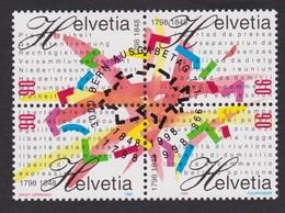 SUISSE 1998:  Bloc De 4 Se-tenant,  Oblitéré - Gebraucht