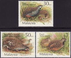 Malaysia 2001 S#821-823 Quails & Partridges MNH Fauna Bird Quail Partridge - Malaysia (1964-...)