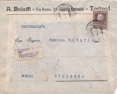 BUSTA  VIAGGIATA - RACCOMANDATA - TORINO - A. BOLAFFI - VIAGGIATA PER RUMINCA - VERBANO - CURSIO - 1900-44 Vittorio Emanuele III
