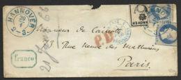Enveloppe-Hanover-Hanovre-Pour Paris-Cachet Bleu Prusse Erquelines - Hanovre