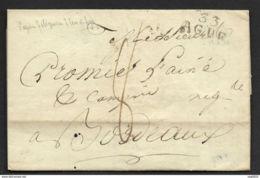 Herault-Lettre-Marque Linéaire 33 AGDE (22*11)-Pour Bordeaux - Marcophilie (Lettres)