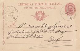 Alezio. 1897. Annullo Grande Cerchio ALEZIO, Su Cartolina Postale, Con Testo - 1878-00 Umberto I