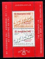 YUGOSLAVIA 1982 Communist League Congress Block Used.  Michel Block 21 - Blocks & Sheetlets