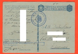 Sassari Comando 130° BTG Costieri PM 1942 Franchigie Forze Armate Posta Militare - 1900-44 Vittorio Emanuele III