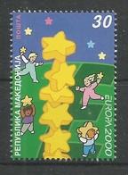 Makedonien 2000  Mi.Nr. 196 , EUROPA CEPT - Kinder Bauen Sternenturm - Postfrisch / MNH / (**) - Mazedonien