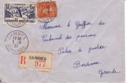 FRANCE : 1937 - Lettre Recommandée De Cambes Pour Bordeaux - Ski à Chamonix - Semeuse - France