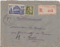 FRANCE : 1939 - Lettre Recommandée De Podensac Pour Bordeaux - Souverains Britaniques - Paix - France