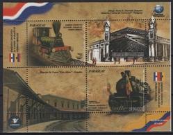 Paraguay (2018)  - Block -   /  Joint Issue With Ecuador - Trains - Locomotives - Trenes - Eisenbahn - Emissions Communes