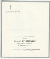 Doodsbrief Gerard CORDENIER Echtg. Alice Verdonck Lokeren 1931 Watou 1975 Families Samyn Brysbaert - Décès
