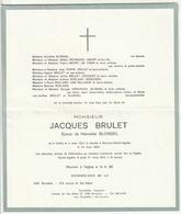 Faire-part Décès Jacques BRULET époux Henriette Blondel Ixelles 1937 Berchem-Sainte-Agathe 1980 - Décès