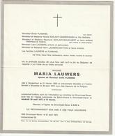 Faire-part Décès Doodsbrief Maria LAUWERS épouse Emile Flamand Borgerhout 1920 Bruxelles 1975 - Décès