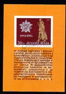 YUGOSLAVIA 1981 40th Anniversary Of Insurrection Block Used.  Michel Block 19 - Blocks & Sheetlets