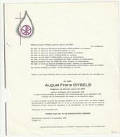 Doodsbrief August Frans GYSELS Echtg. Jeanne De Smet Edegem 1906 Antwerpen 1973 Families Heyselberghs Philips - Décès