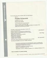 Doodsbrief Rosalia SCHAUWERS Echtg. Frans Van De Put Herselt 1906 Geel 1976 Families Brems Verellen - Décès