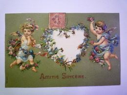 """2019 - 884  SUPERBE CARTE  GAUFREE  ANGELOTS :  """" Amitié Sincère """" XXX - Anges"""