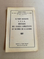 """Livret De 1951 """"SFIO ...Anciens Combattants Et Victimes De La Guerre"""" - Vieux Papiers"""