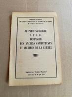 """Livret De 1951 """"SFIO ...Anciens Combattants Et Victimes De La Guerre"""" - Collections"""