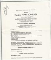 Doodsbrief Hendrik VAN ROMPAEY Echtg. Godelieve Moyersons Blaasveld 1927 Reet 1979 Families Van Campenhout Van Keer - Décès