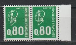 YT 1891d ** 0,80F Vert Marianne De Béquet, Paire Bdf, Sans BP Tenant à Normal, Signé Brun, SUP - Variétés: 1970-79 Neufs
