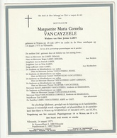 Doodsbrief Marguerite Maria Cornelia VANCAYZEELE Wed. Jerôme Labey Watou 1894 Vilvoorde 1975 Families Ampe Gast - Décès