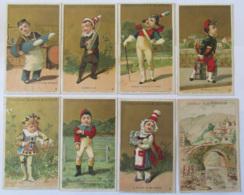 Lot De 8 Chromos Chocoloat Guérin-Boutron Dont Série Humour Enfants, + La Natation - Guérin-Boutron