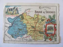 Chromo De La Librairie Sainte-Croix à Angers - Carte Géographique Du Canton De Baugé & Seiches - Autres