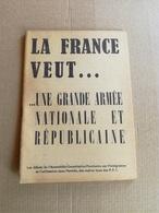 """Livret Ancien Année ?  """"La France Veut ... Une Grande Armée Et ..."""" - Vieux Papiers"""