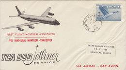 CANADA 1960 First Flight MONTREAL - VANCOUVER DC-8.BARGAIN.!! - Eerste Vluchten