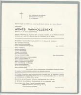 Doodsbrief Agnes VANHOLLEBEKE Wed. Leon Prinzie Poperinge 1904 Menen 1975 Families Laconte Struye - Décès