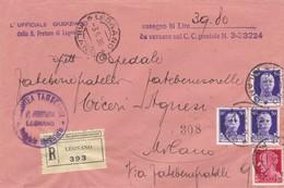 BUSTA  VIAGGIATA - RACCOMANDATA - LEGNANO ( MI) L' UFFICIALE GIUDIZIARIO DELLA R. PRETURA - VIAGGIATA PER MILANO - 1900-44 Vittorio Emanuele III