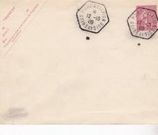 ENTIER POSTAL SEMEUSE LIGNEE 10 C  CACHET PORT AVIATION 1909 - Marcofilie (Brieven)