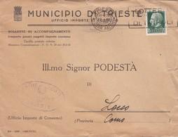 BUSTA  VIAGGIATA - MUNICIPIO DI TRIESTE- BOLLETTE DI ACCOMPAGNAMENTO - VIAGGIATA PER LECCO - 1900-44 Vittorio Emanuele III