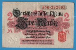 DEUTSCHES REICH 2 Mark 12.08.1914No 550.232992  P# 53 DARLEHENSKASSENSCHEINE - [ 2] 1871-1918 : Empire Allemand