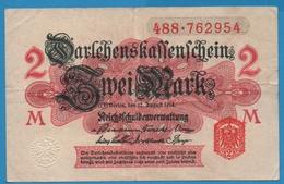 DEUTSCHES REICH 2 Mark 12.08.1914No 488.762954  P# 53 DARLEHENSKASSENSCHEINE - [ 2] 1871-1918 : German Empire