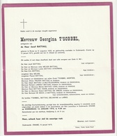 Doodsbrief Georgina T'SOBBEL Echtg. Jozef Battiau Ronse 1906 Oudenaarde-Ename 1975 Families Deliveyne Larno - Décès
