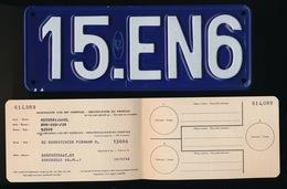 NUMMERPLAAT + INSCHRIJVINGSBOEKJE IN ORIGINELE OMSLAG = MOTORRIJWIEL BMW 350/38 PLAAT N° 15EN6 - 1956  3 SCANS - Nummerplaten