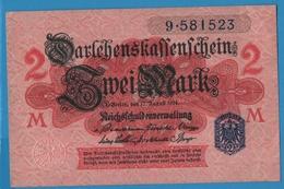 DEUTSCHES REICH 2 Mark 12.08.1914No 9.581523 P# 55 DARLEHENSKASSENSCHEINE - [ 2] 1871-1918 : Empire Allemand
